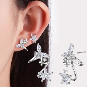 925 Sterling Silver Stud Flowers Earrings